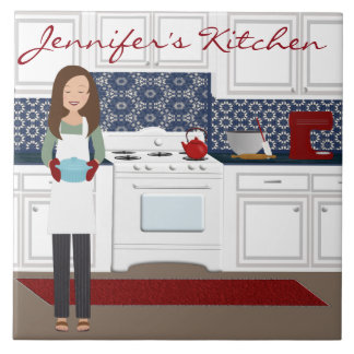Personalized Kitchen Chef in Blues Tile
