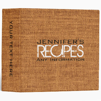 Personalized Kitchen Cooking Brown Burlap Linen Binder