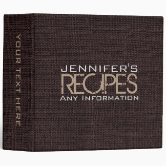 Personalized Kitchen Cooking Brown Burlap Linen 3 Ring Binders