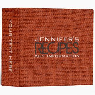 Personalized Kitchen Cooking Burlap Linen Binder