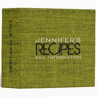 Personalized Kitchen Cooking Green Burlap Linen 3 Ring Binder