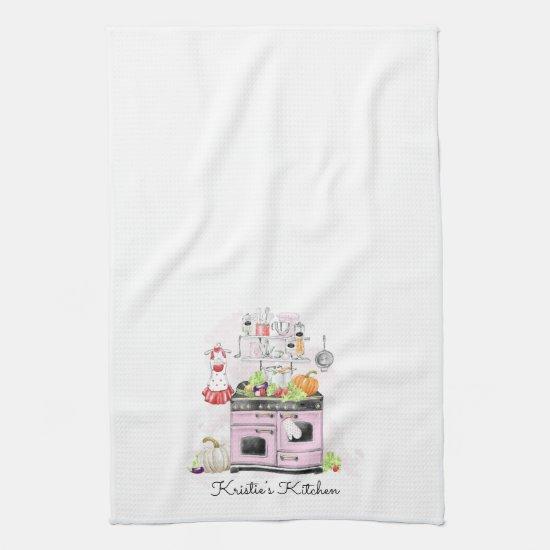 Personalized Kitchen Pink Stove Kitchen Towel