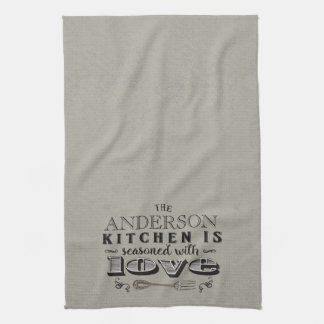 Marvelous Personalized Kitchen Seasoned With Love Typography Towel