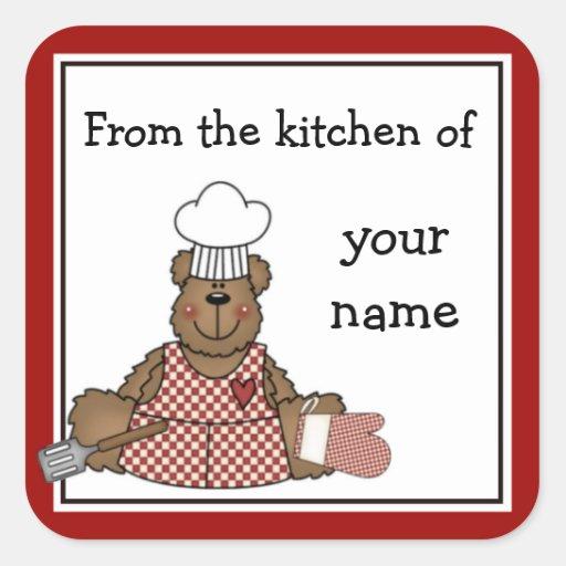 Personalized Kitchen Teddy Bear Stickers