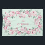 """Personalized kitchen towel pink mint floral<br><div class=""""desc"""">Cottage chic personalized kitchen towel,  floral with pink roses in pink and mint colors. Add your own text.</div>"""
