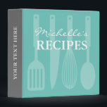 """Personalized kitchen utensils recipe binder book<br><div class=""""desc"""">Personalized kitchen utensils recipe binder book. Custom cookbook with spoon, knife, whisk, spatula and personalizable color plus name. Cute personalized baking / cooking gift idea for women; ie mom, mother, mother, aunt, wife, sister, grandma, chef, friend etc. Country chic design with kitchen equipment design. Elegant typography for custom name. Cute...</div>"""