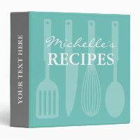 Personalized kitchen utensils recipe binder book