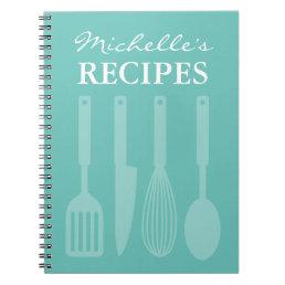 Personalized kitchen utensils recipe book notebook