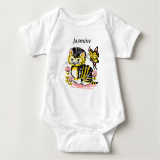 Personalized Kitten Graphics Baby Girl's Shirt