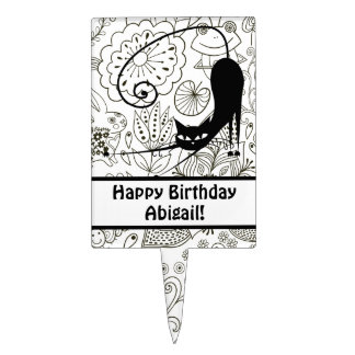 Personalized Kitty Cat Happy Birthday Cake Topper
