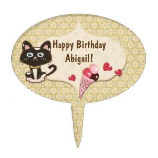 Personalized Kitty Cat, Ice Cream Happy Birthday Cake Topper