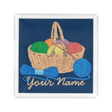 Personalized Knitting Colorful Yarn Basket Acrylic Tray