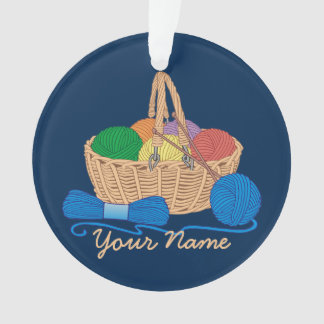 Personalized Knitting Colorful Yarn Basket Ornament