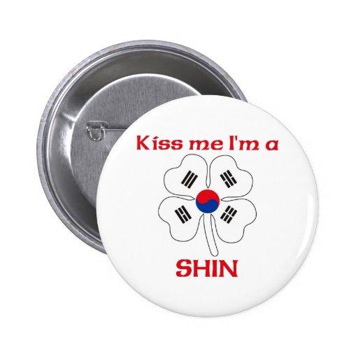 Personalized Korean Kiss Me I'm Shin Pinback Button