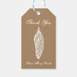 Personalized Kraft Paper Feather Gift Tag