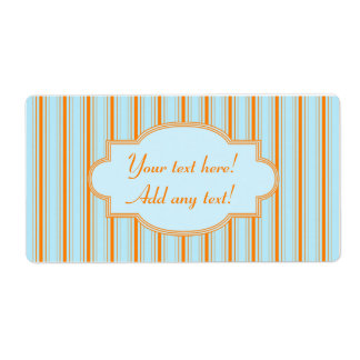 Personalized Label Cute Modern Stripes Blue Orange Shipping Label