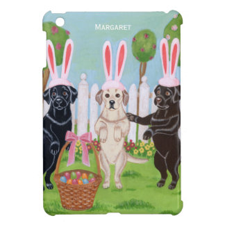 Personalized Labrador Easter Bunnies Painting iPad Mini Case