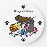 Personalized Labrador Puppies from Eggs Wall Clocks
