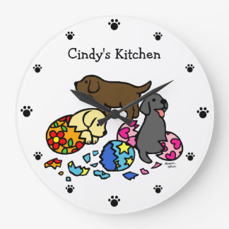 Personalized Labrador Puppies from Eggs Large Clock