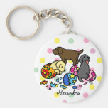 Personalized Labrador Puppies from Eggs Polka Dots Key Chain