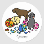 Personalized Labrador Puppies from Eggs Round Sticker