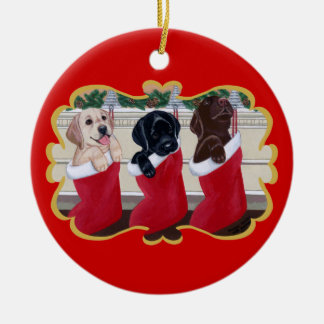 Personalized Labrador Retriever Puppies Christmas Ceramic Ornament