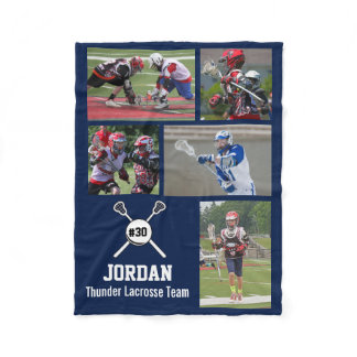 Personalized Lacrosse 5 Photo Collage Name Team # Fleece Blanket