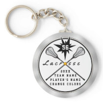 Personalized Lacrosse Keychain, Your TEXT,  COLORS Keychain