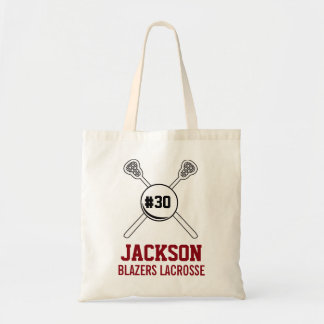 Personalized Lacrosse Player's Name Number Team Tote Bag