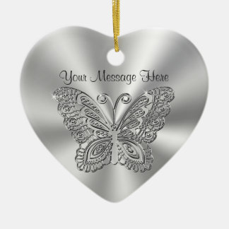 Personalized Lacy Silver Butterfly Ornaments