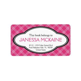 Personalized Ladies Bookplate Sticker Pink White