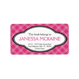 Personalized Ladies Bookplate Sticker Pink White Label