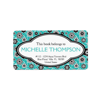 Personalized Ladies Doodle Flowers Bookplate Aqua