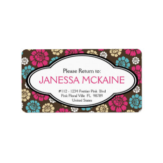 Personalized Ladies Pink Brown Blue Floral Sticker