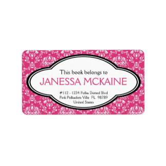 Personalized Ladies Pink Floral Book Plate Sticker Custom Address Label