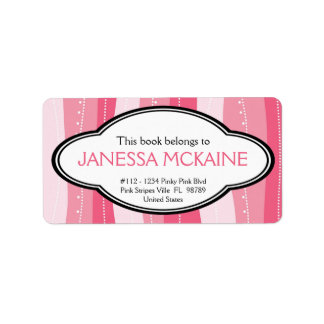Personalized Ladies Pink Wavy Stripes Book Plate Labels