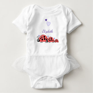 Personalized ladybirds purple baby bodysuit