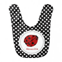 Personalized: Ladybug And Polka-dots Bib