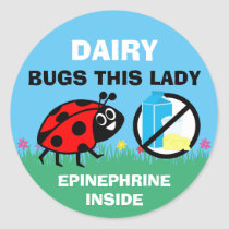 Personalized Ladybug Dairy Allergy Alert Classic Round Sticker