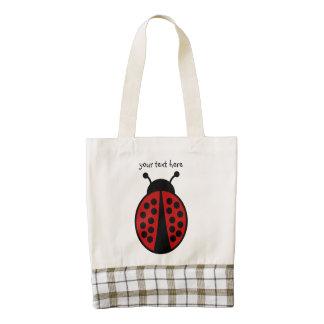Personalized ladybug design zazzle HEART tote bag