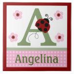 Personalized Ladybug & Flowers Letter Name Tile