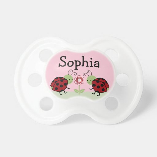 "Personalized ""Ladybugs & Flower"" Baby Pacifier"