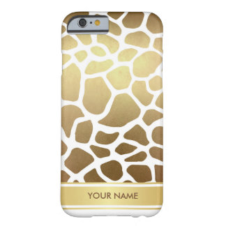 Personalized Lampart Zebra Skin White Gold Glam Barely There iPhone 6 Case