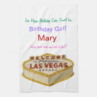 Personalized Las Vegas Birthday Cake Towel