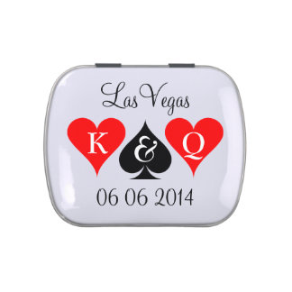 Personalized Las Vegas wedding favor candy tins