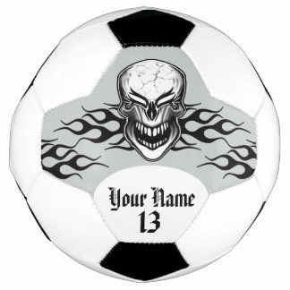 Personalized Laughing Skull and Flame Soccer Ball
