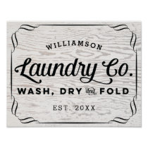 Personalized Laundry Wash Dry Fold on Rustic Wood Poster