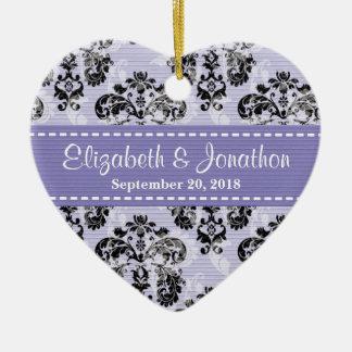 Personalized Lavender and Black Damask Wedding Fav Christmas Ornament