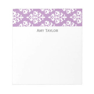 Personalized Lavender Damask Pattern Notepad