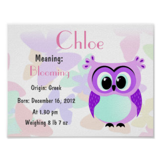 Personalized lavender owl nursery poster